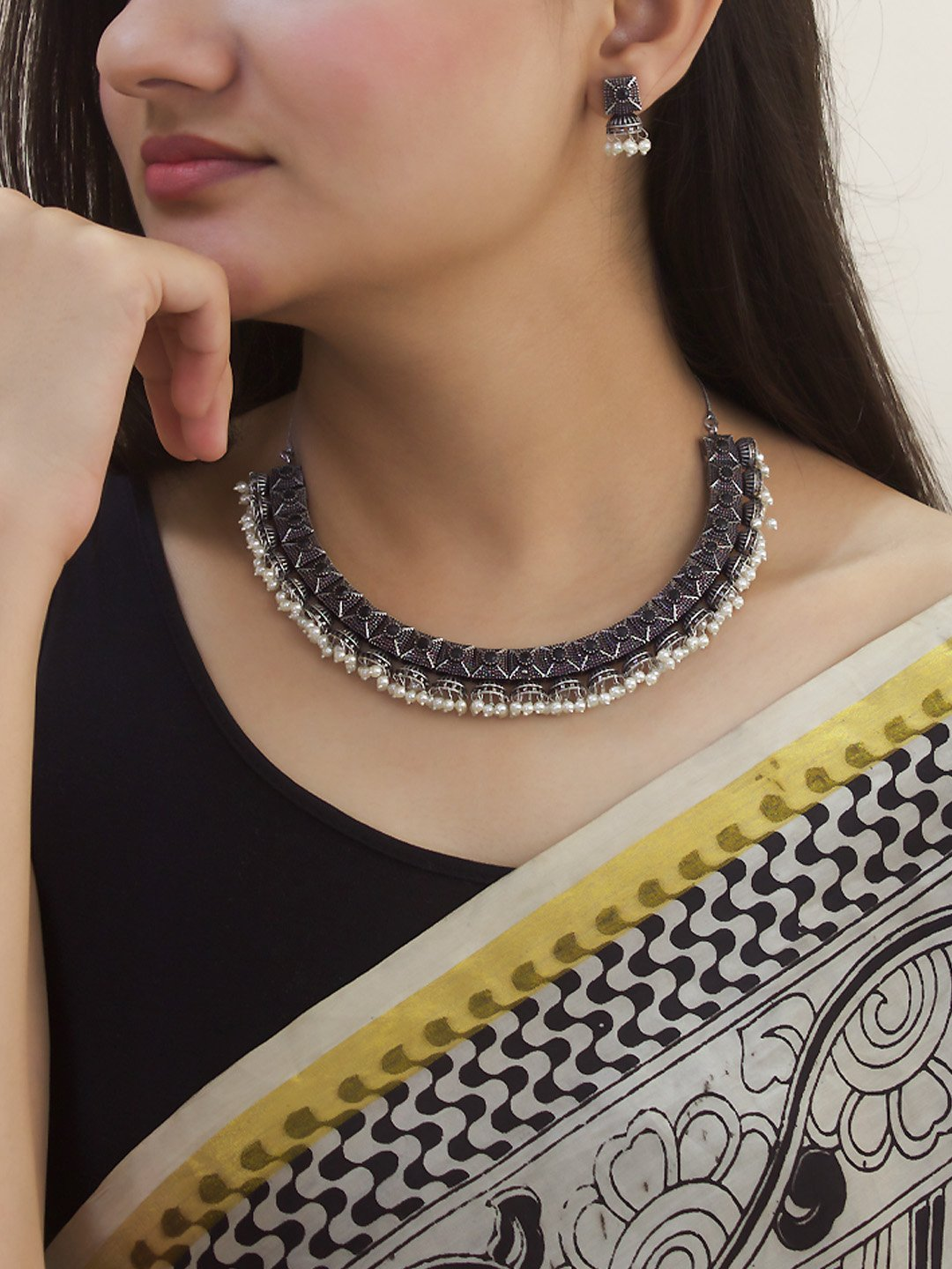 Oxidised Silver Plated Geometric Design With Hanging Pearls Choker Necklace Set