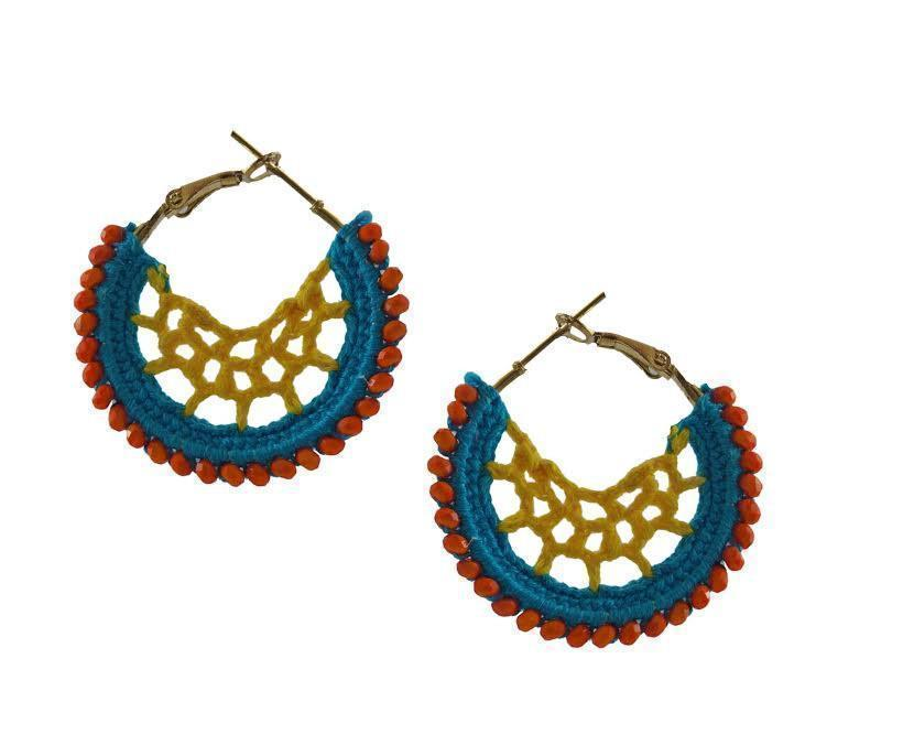 Jaalidar Crochet Hoops- Turquoise Yellow