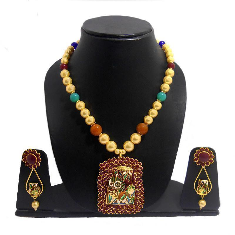 Elegant Multicolour Pachi Necklace
