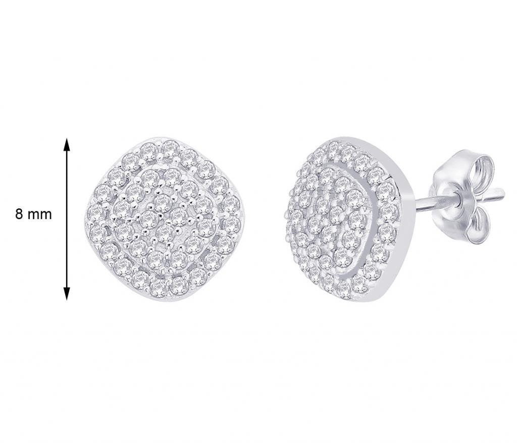 Cushion Cut Cluster Studs For Party Wear