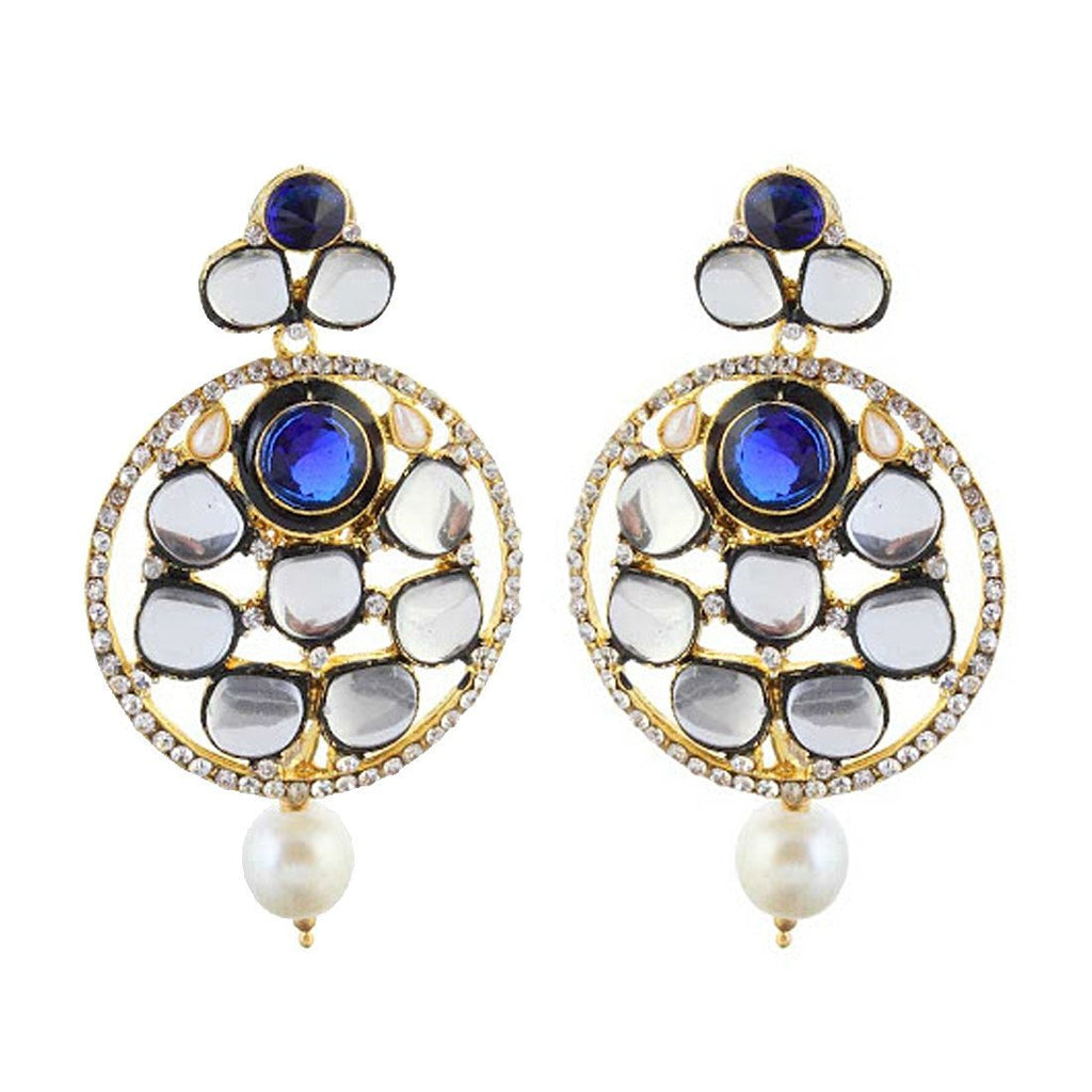 Royal Blue Kundan Danglers