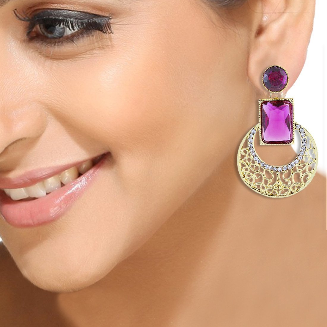Rani Pink Crescent Cut Out Danglers