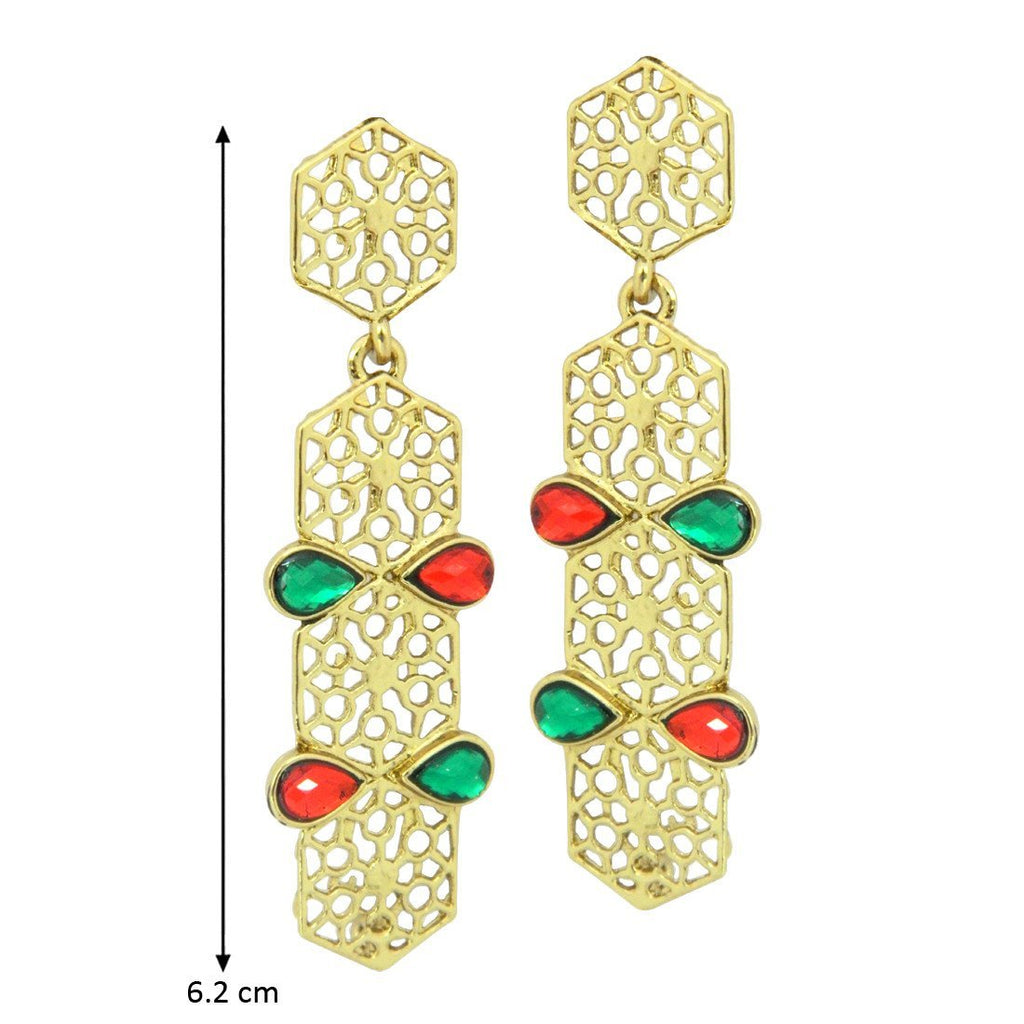 Multi Color Long Cut Work Earrings