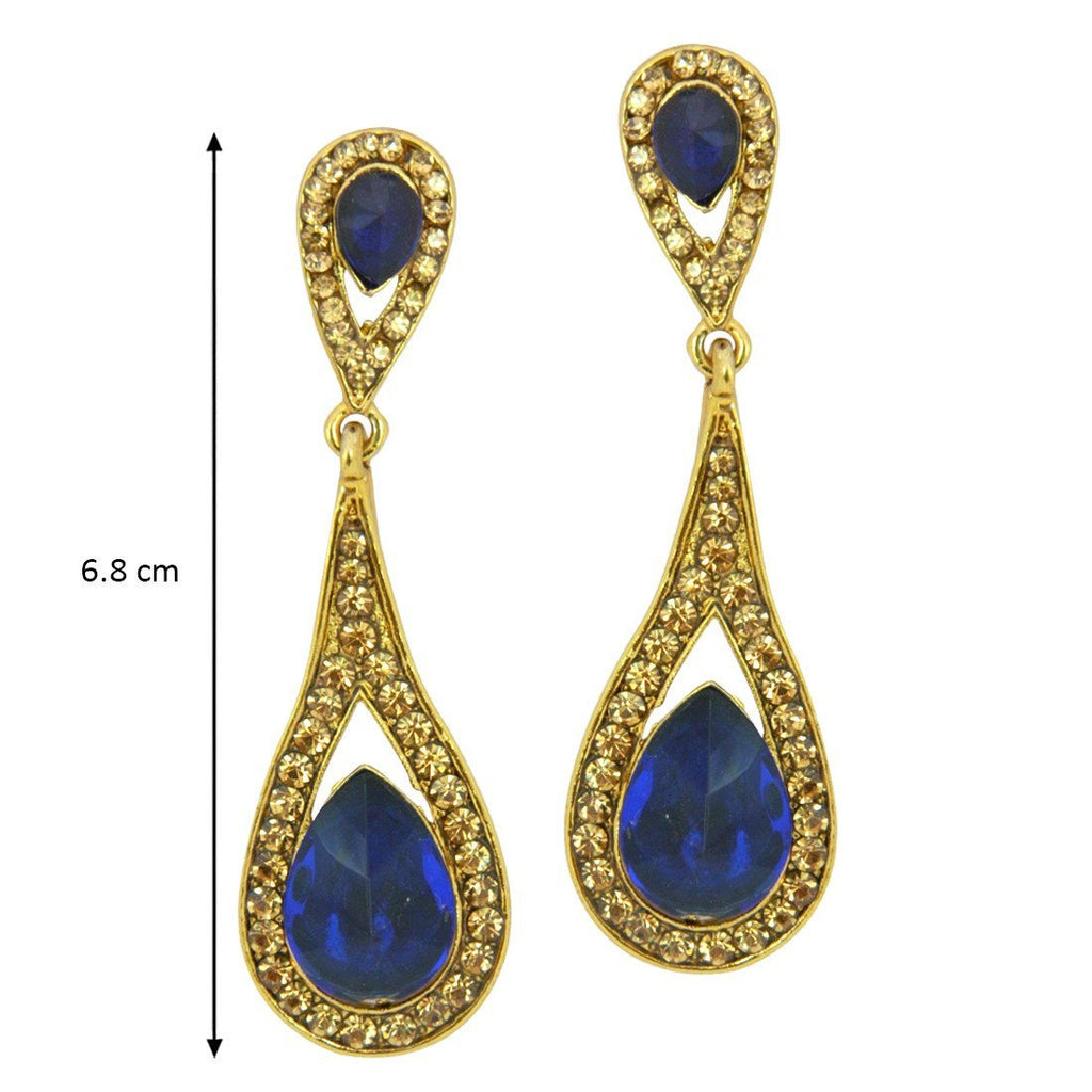 Blue Lady Earrings For Women In 18 Karat Gold Plating