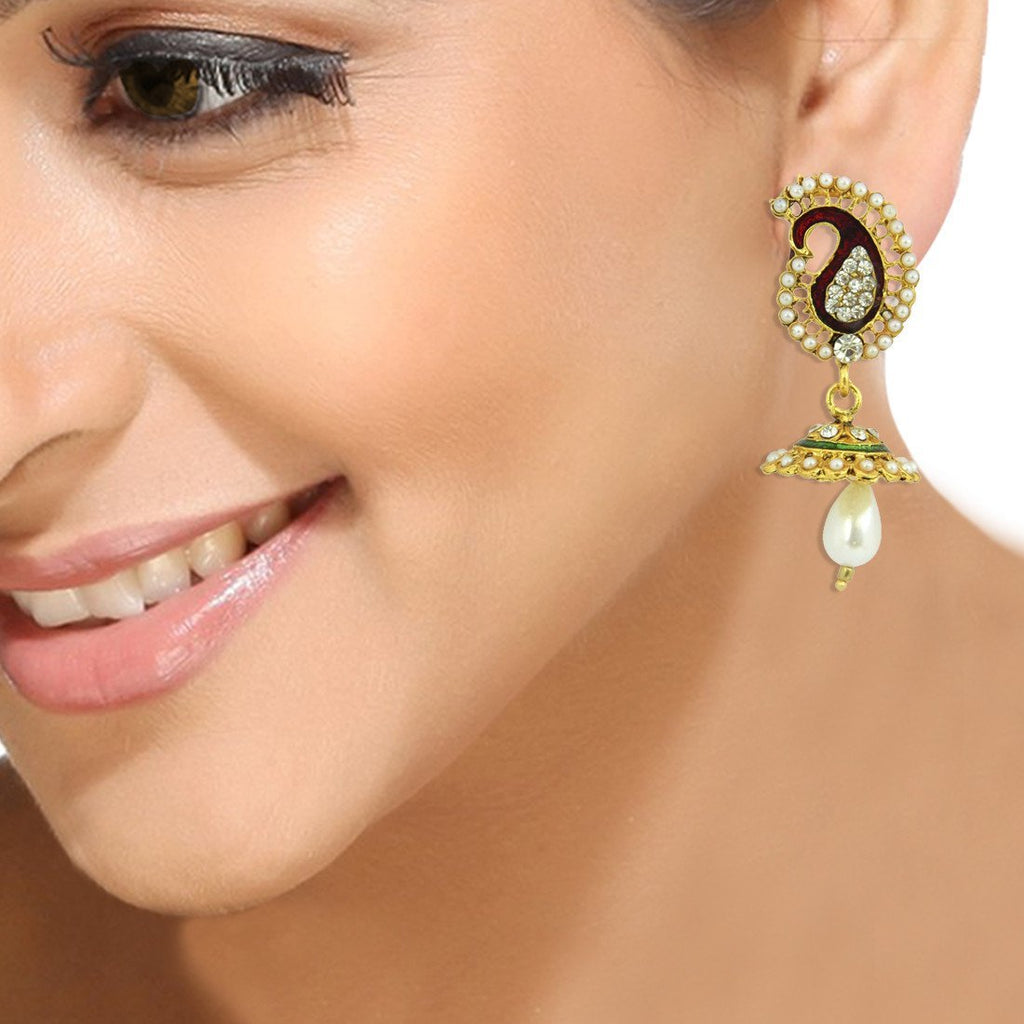 Peacock Jhumka Earrings For Women In 18 Karat Gold Plating
