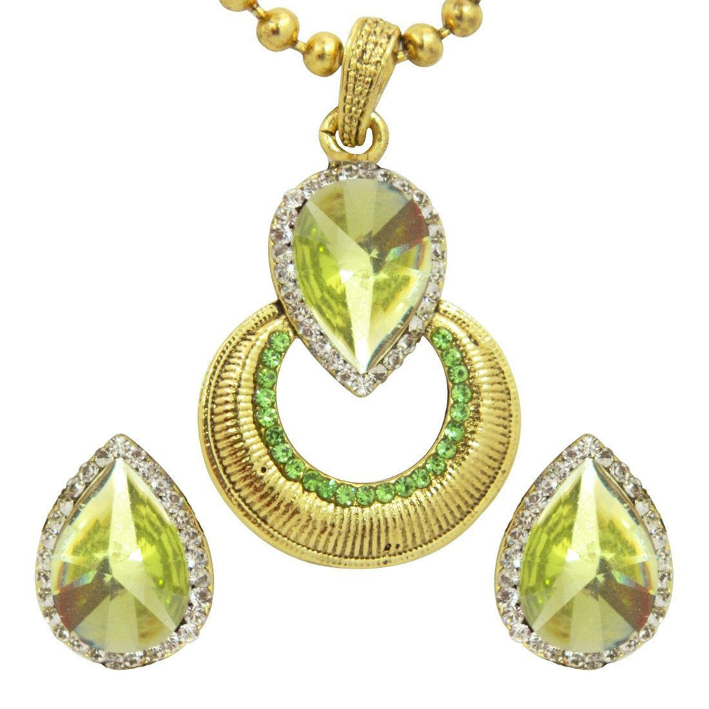 Sparkling Lime Pendant Earring Set