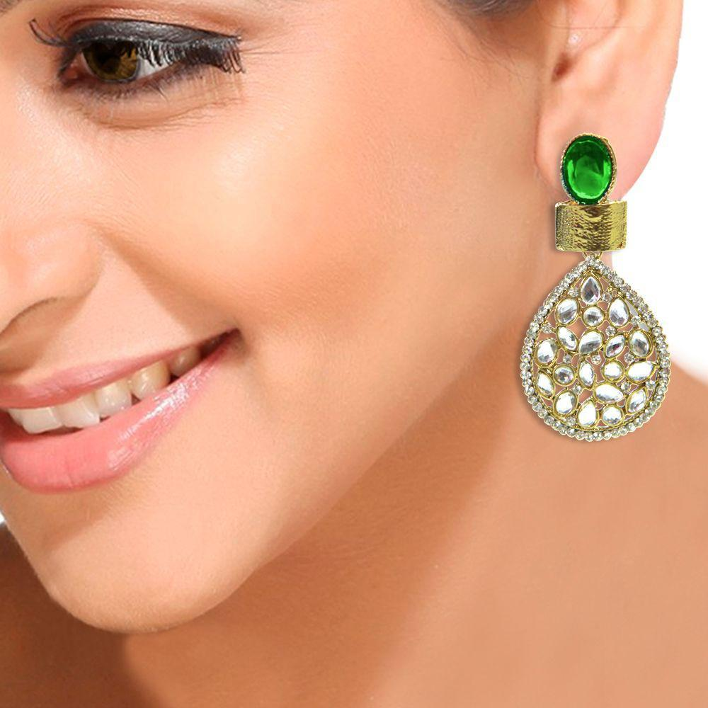 Antique Green Kundan Danglers