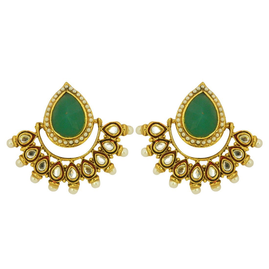 Green Statement Kundan Earrings