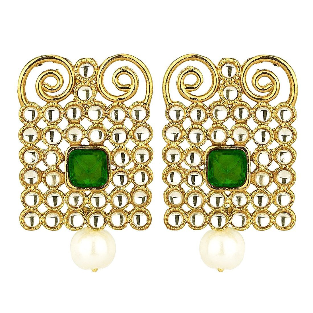 Kundan Encrusted Geometric Green Earrings