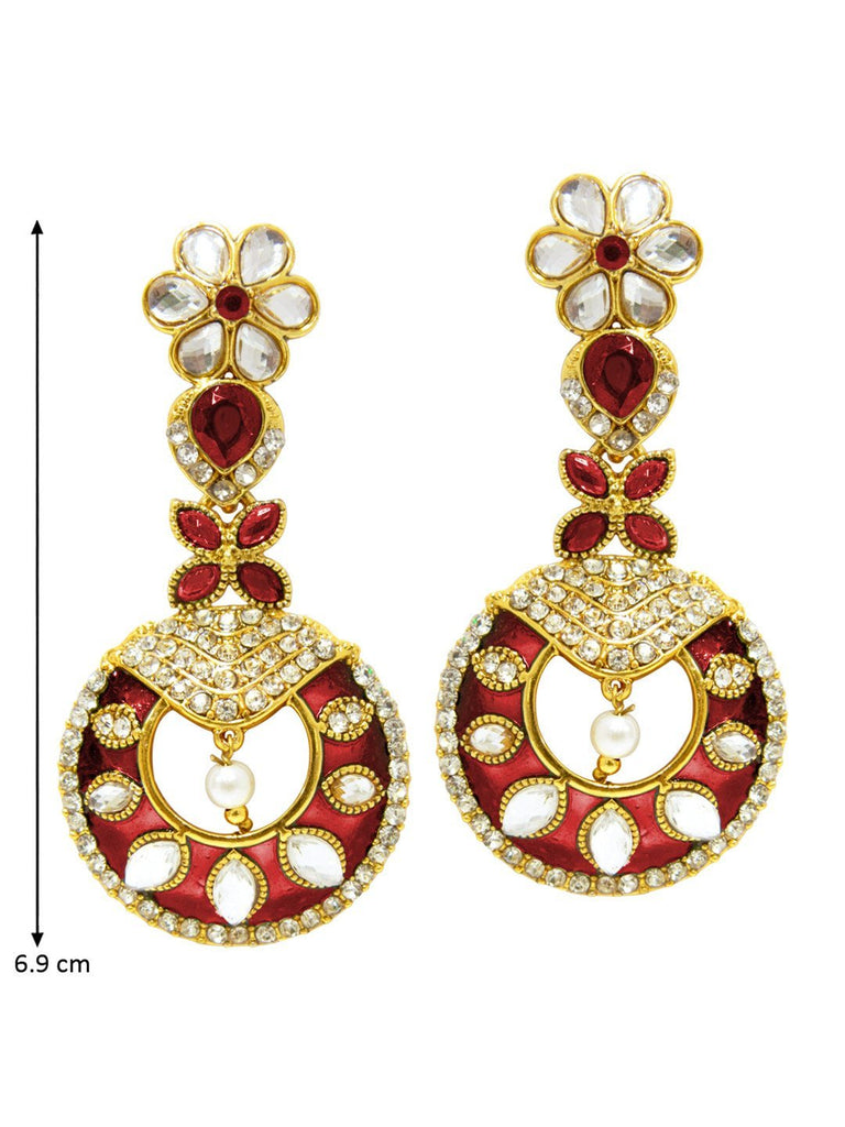 Glistening Red Enamel Earrings
