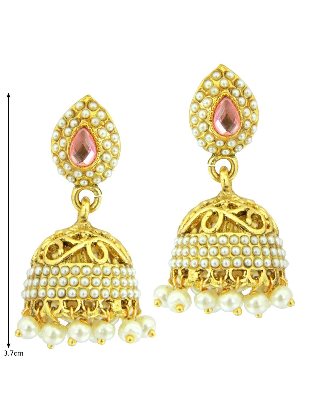 Pink Cut-Work Traditional Jhumkis