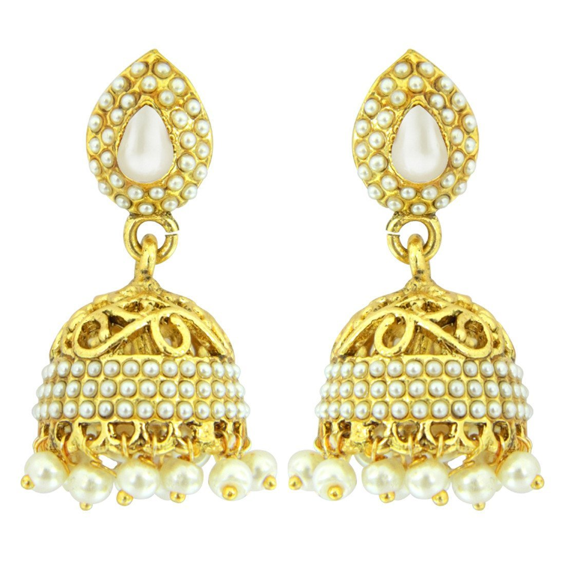White Cut-Work Traditional Jhumkis