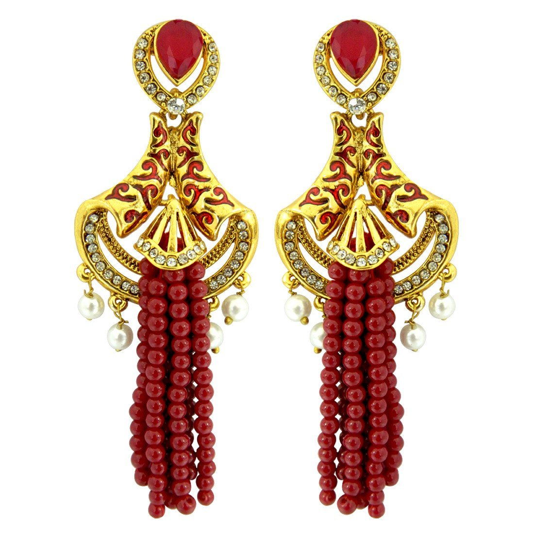 Beaded Tassel Meenakari Earrings