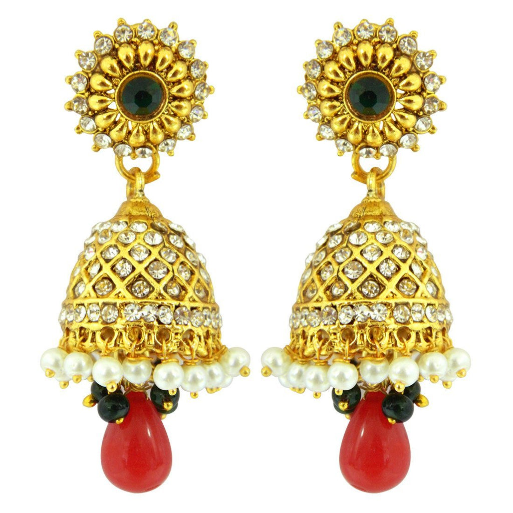 Colourful Crystal Jhumkis