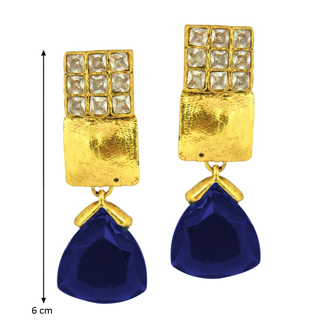 Blue Triangular Drop Danglers