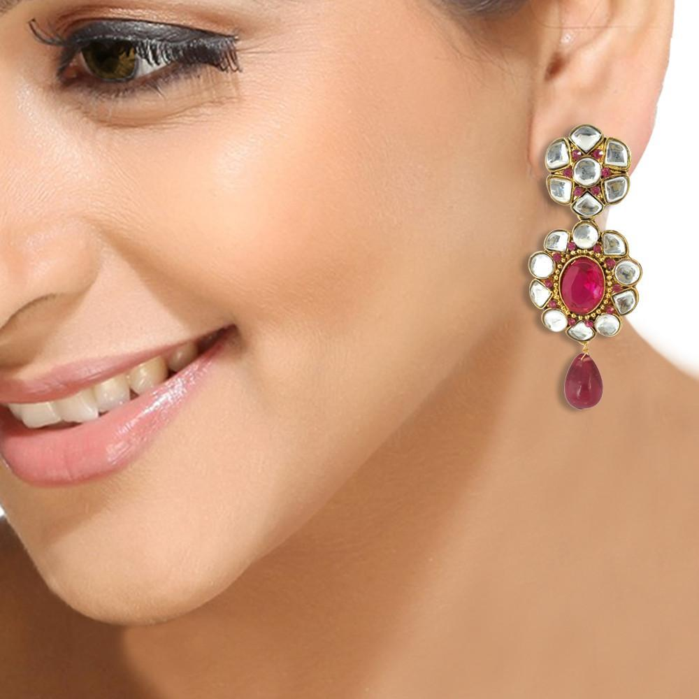Bright Floral Kundan Earrings