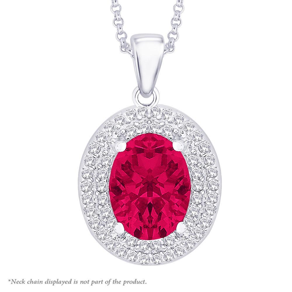 Glittery Red Oval Pendant