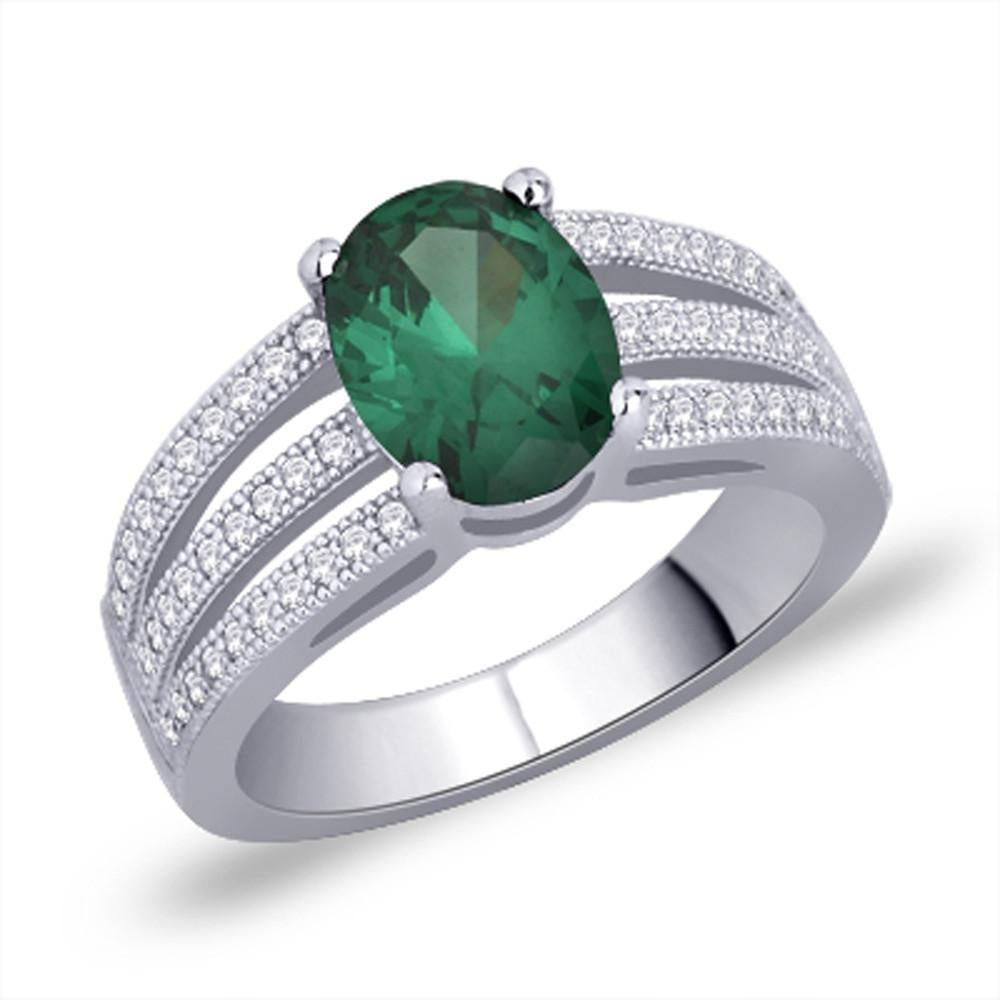 Gleam Green Ring For Party Wear