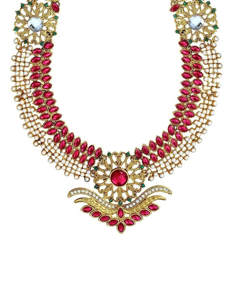 Zaveri Pearls Beautiful Long Botanic Necklace Set