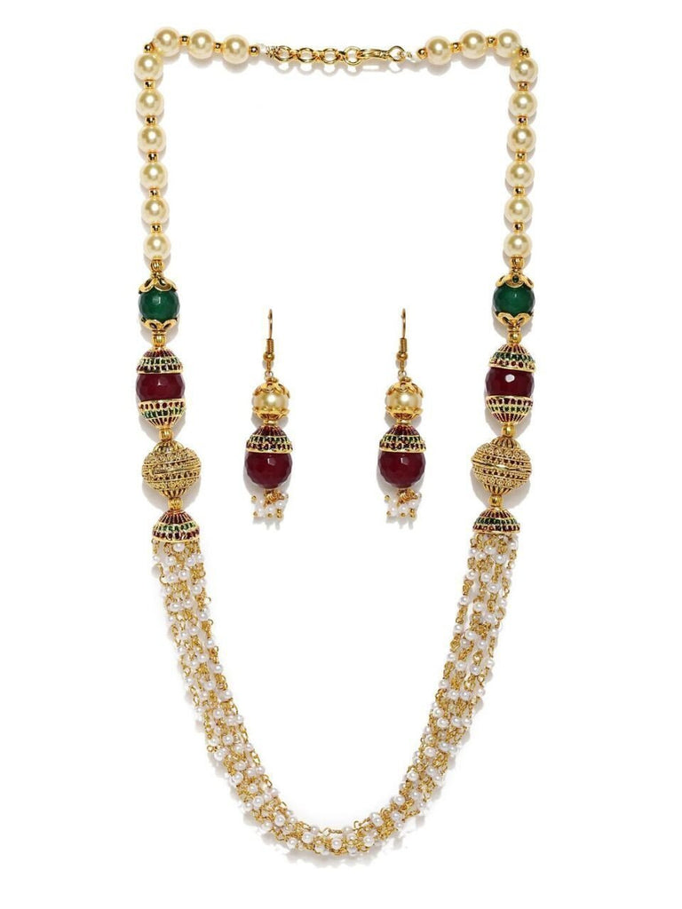 Zaveri Pearls Multi Layered Tulasi Mala With Multicolored Beeds Long Necklace Set
