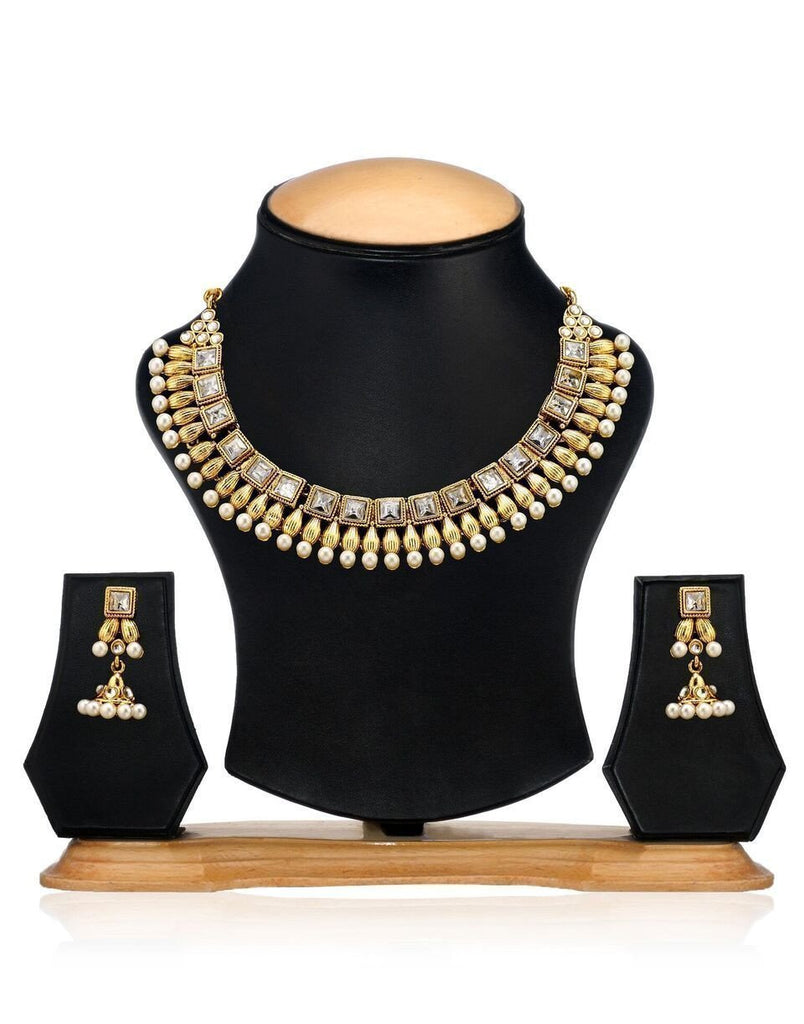 Zaveri Pearls White Pearls Antique South Indian Necklace Set