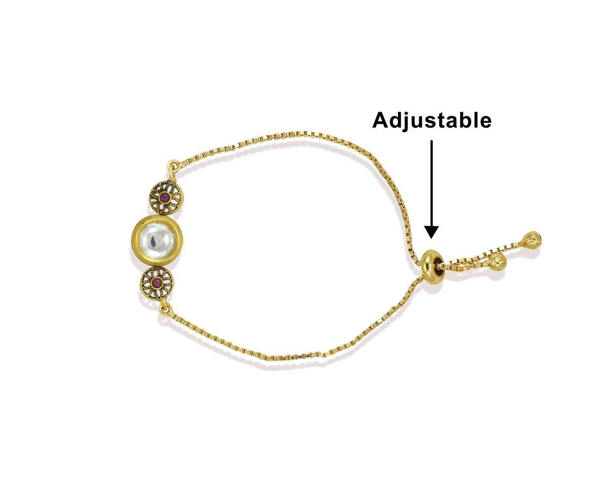 Limited Edition Unique Pattern Free Size Kundan Bracelet With Box Chain By Zaveri Pearls