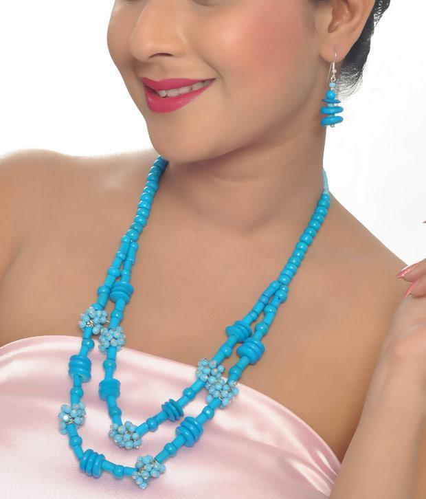 Blue Beaded Necklace Set