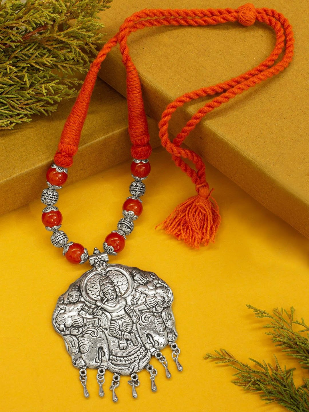Shana Fashion Oxidized Silver Orange Lord Krishna Pendant Necklace