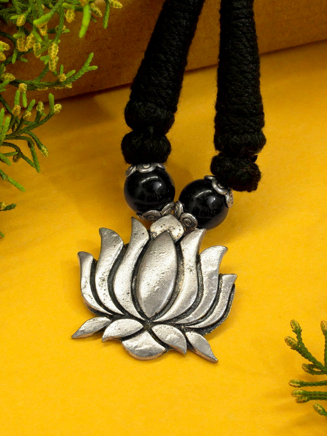 Silver color Oxidised Lotus Design Braided Necklace