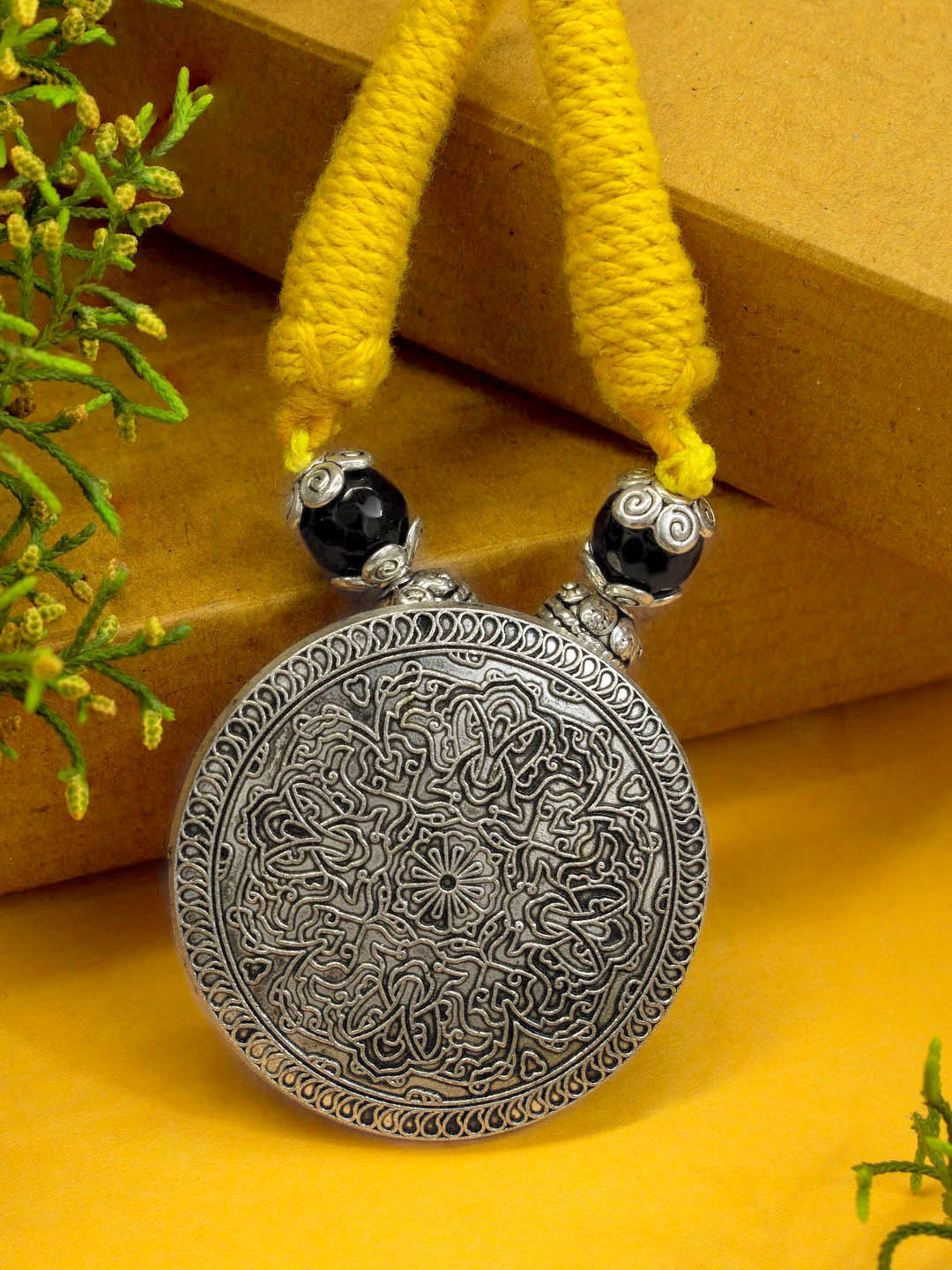 Silver color Oxidised Round Design Braided Necklace