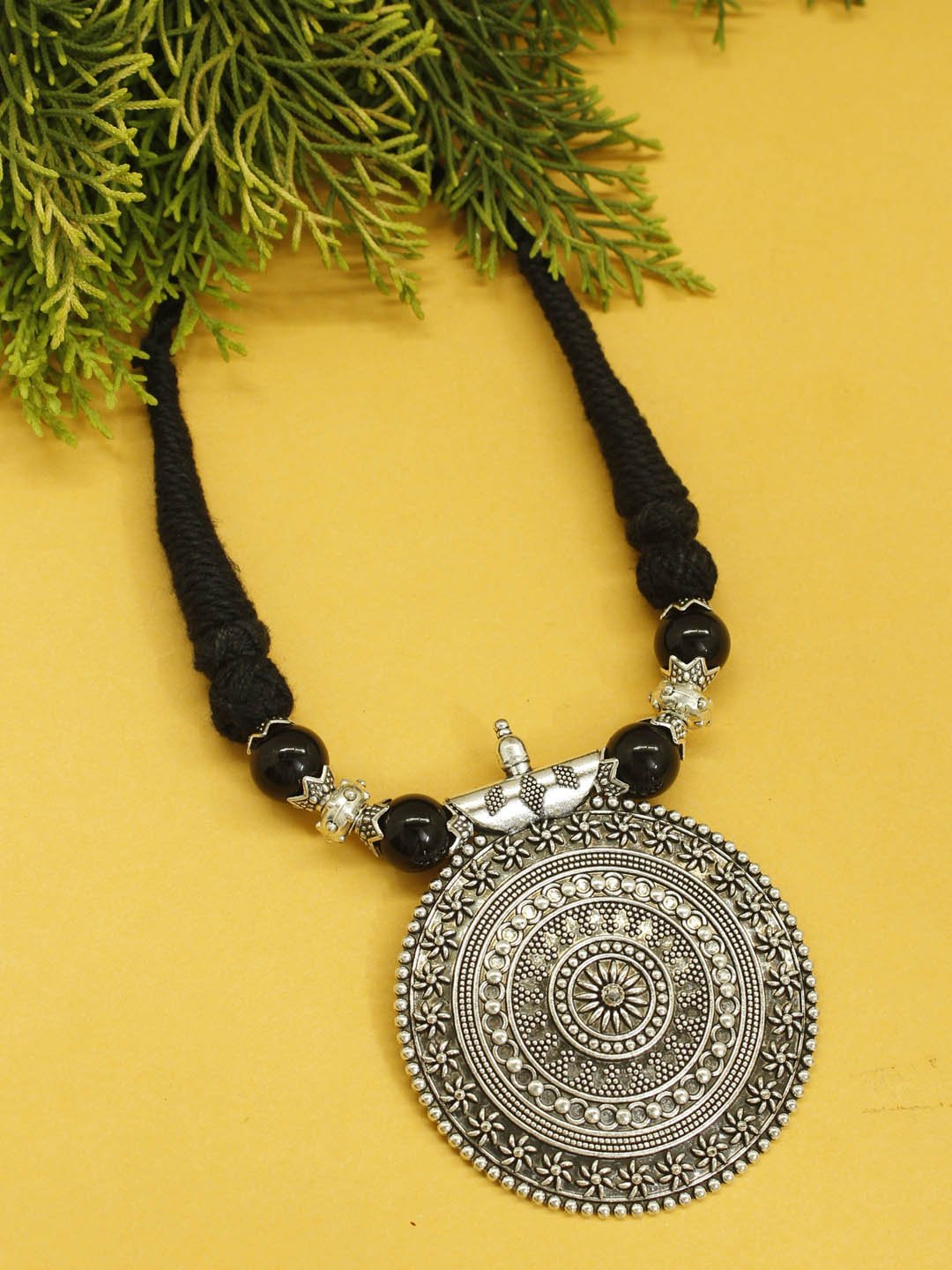 Shana Fashion Oxidised German Silver Black Tribal Pendant Necklace