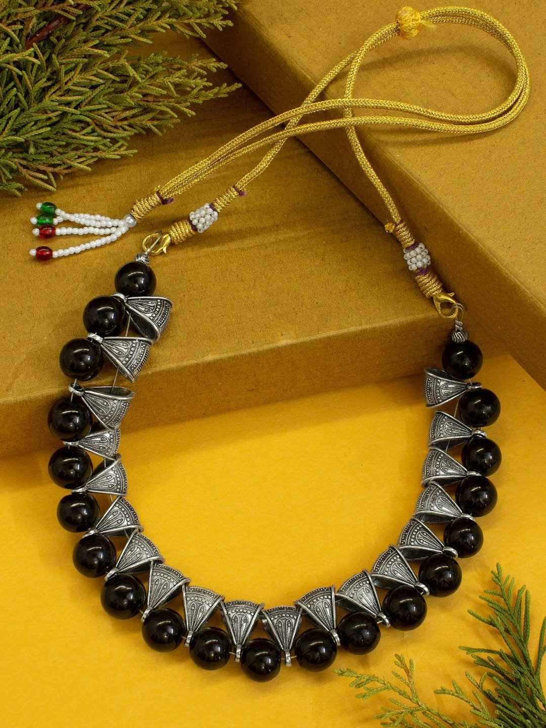 Shana Fashion Black Beads Necklace