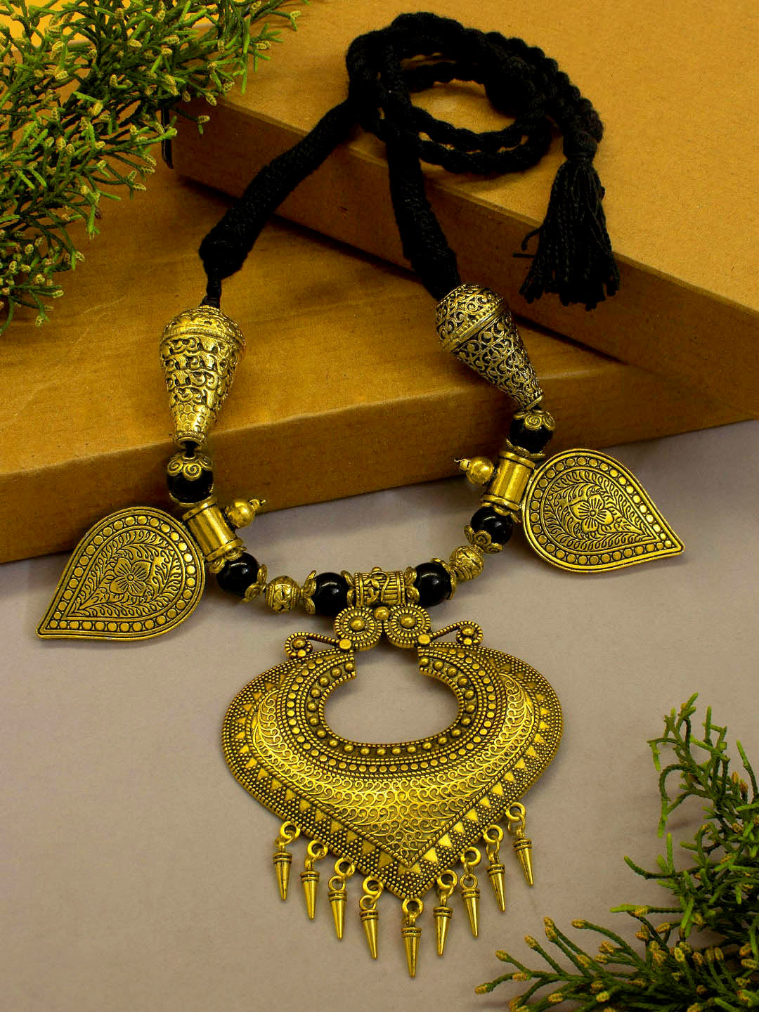 Gold color Oxidised Heart Shape Pendant Braided Necklace