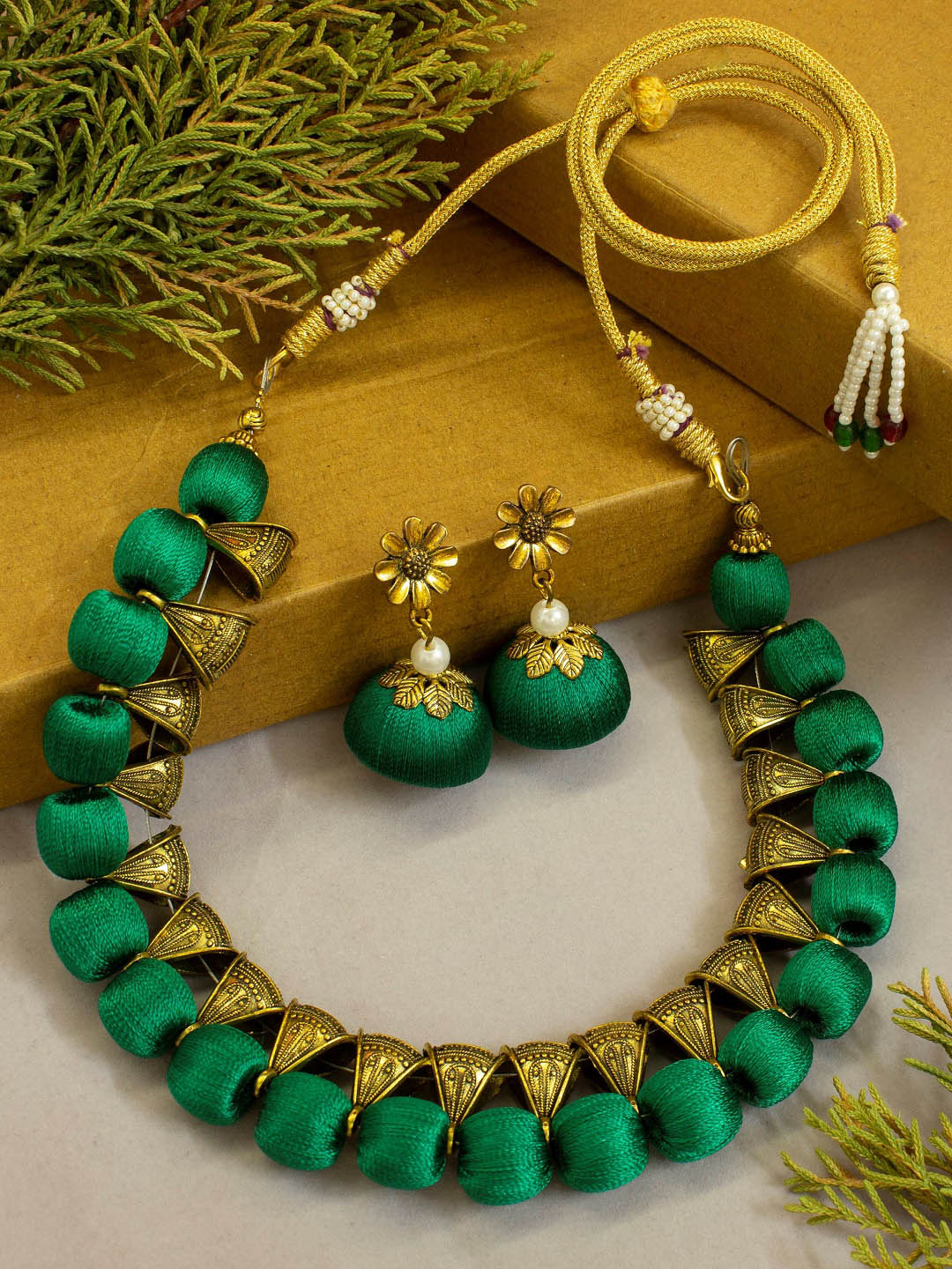 Green Color Silk Thread Antique Gold Bali Choker Necklace Set