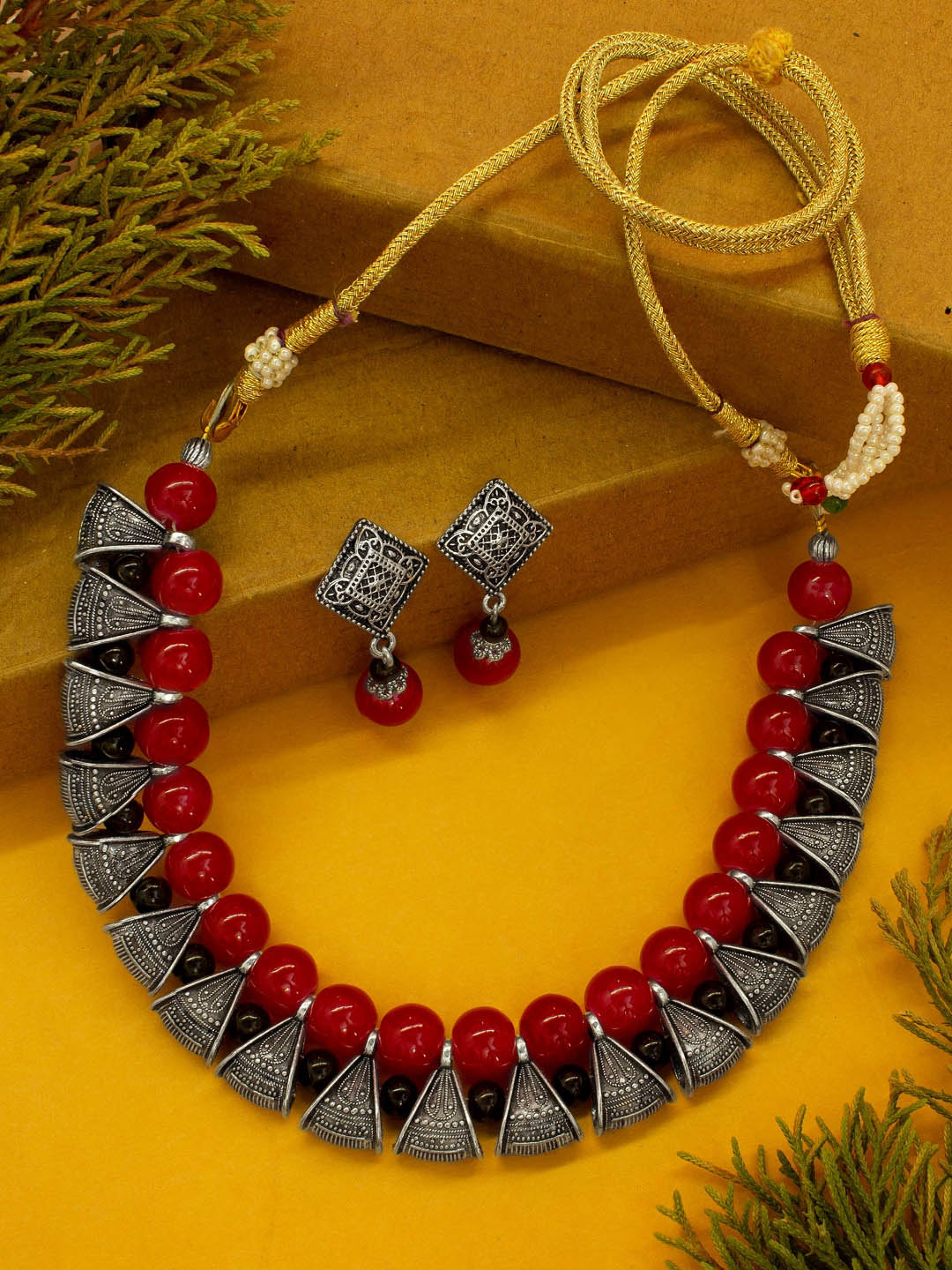 Red Beads Oxidised Silver Bali Necklace Set