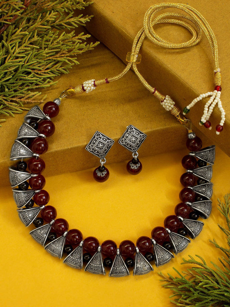 Maroon Beads Oxidised Silver Bali Necklace Set