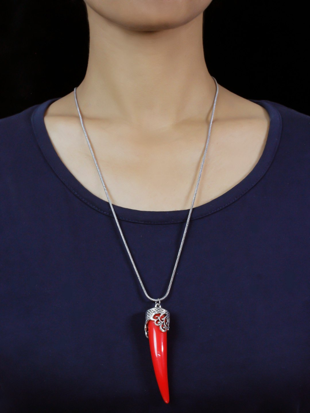 Shana Fashion Oxidized Silver Chain Red Elephant Tusk Pendant Necklace