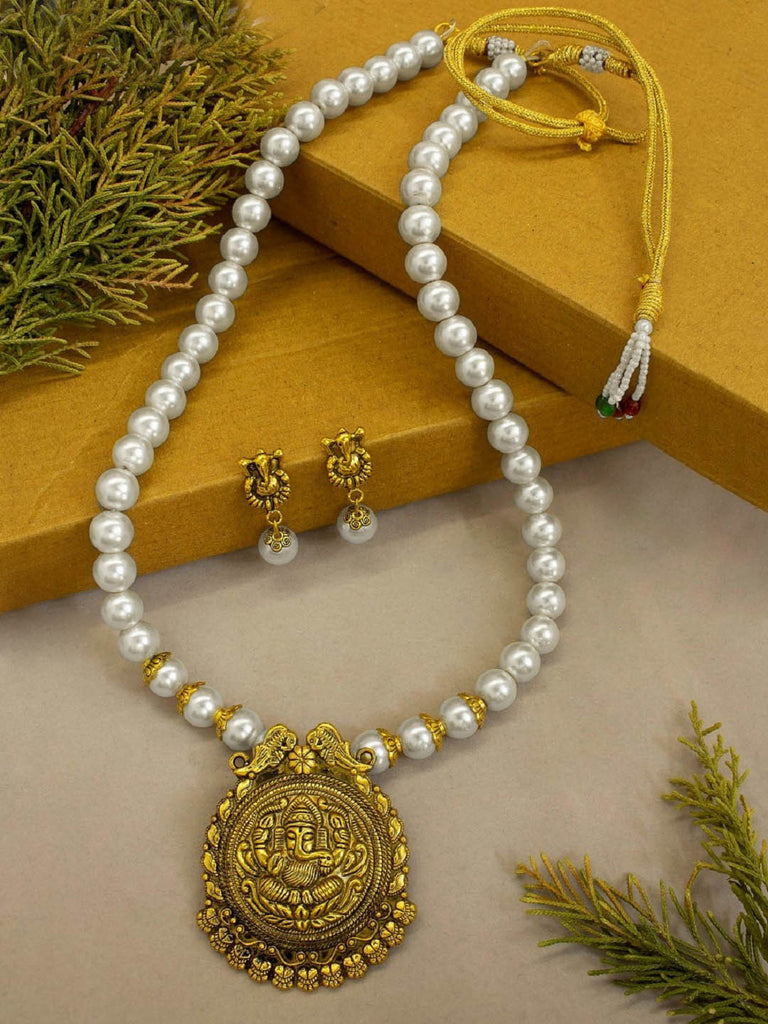 Temple Jewellery Long Pearl Neckalce With Gold Plated Ganesha Pendant Necklace Set