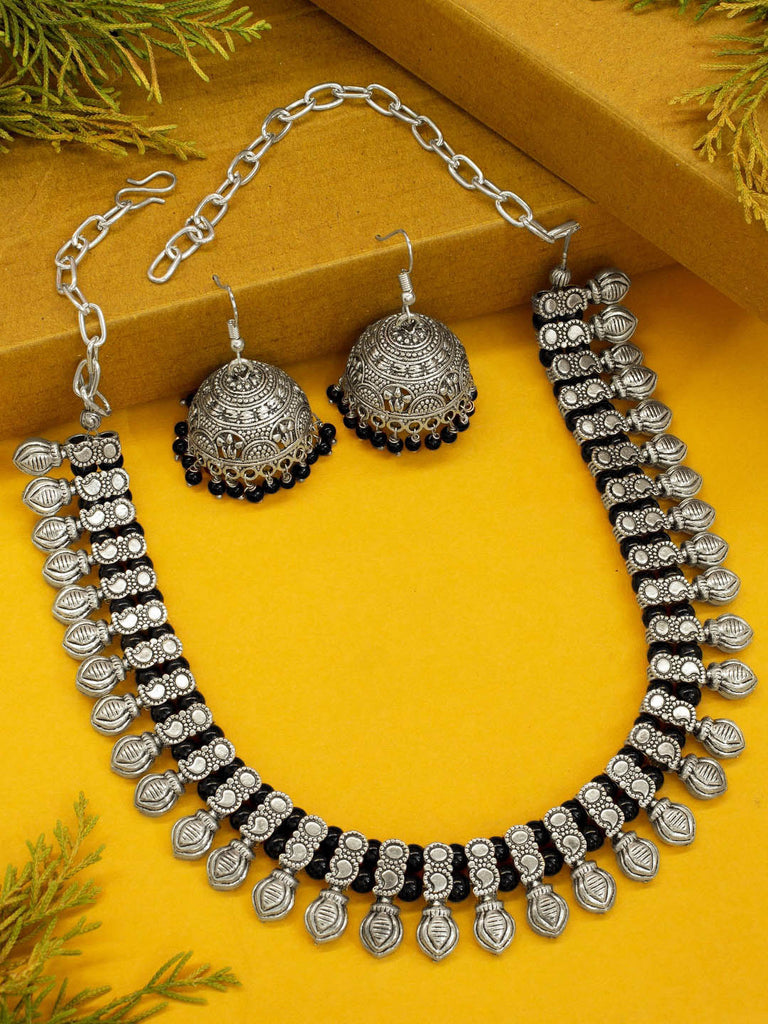 Oxidised German Silver Motif Design Choker Necklace Set With Black Beads