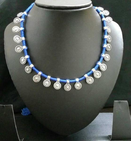 Handmade German Silver Blue Necklace