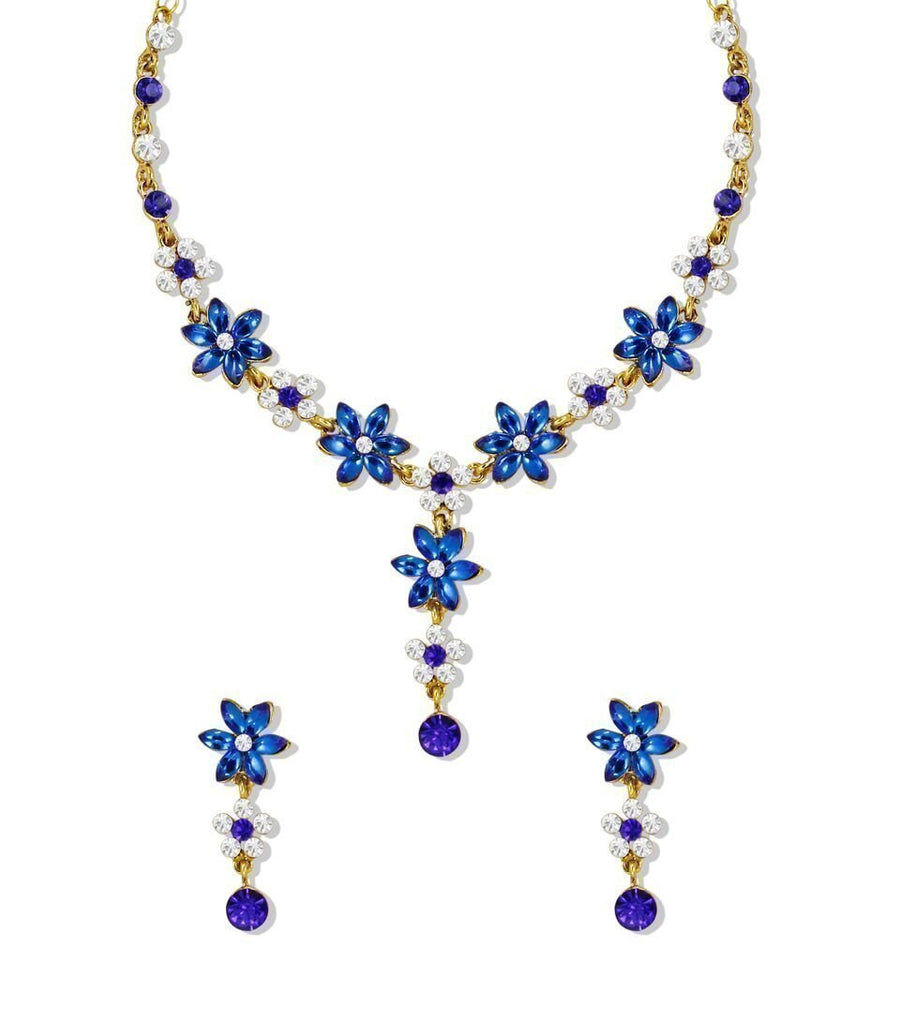 Zaveri Pearls Royal Blue Leaf Stone With Austrian Diamond Floral Necklace Set
