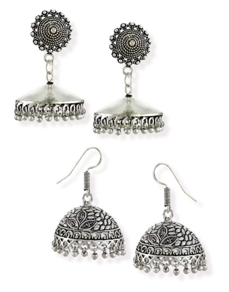 Zaver Pearls Combo of 2 Silver-Toned Jhumki Earring