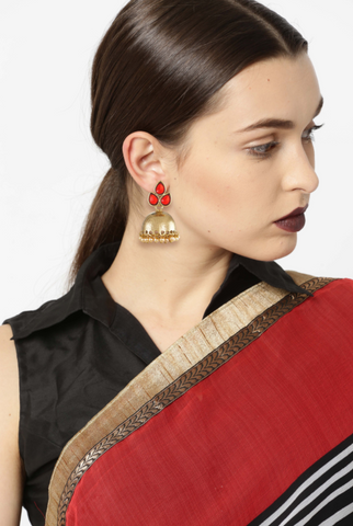 Zaveri Pearls Red Stones Studded Jhumki Earring