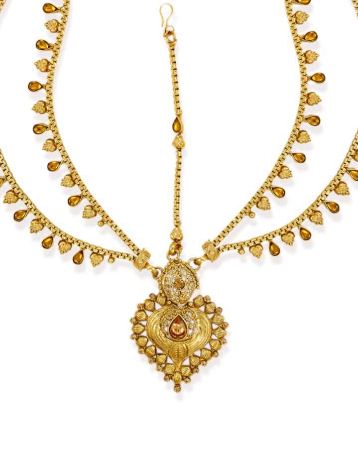Zaveri Pearls Antique Gold-Toned Traditional Maang Tikka