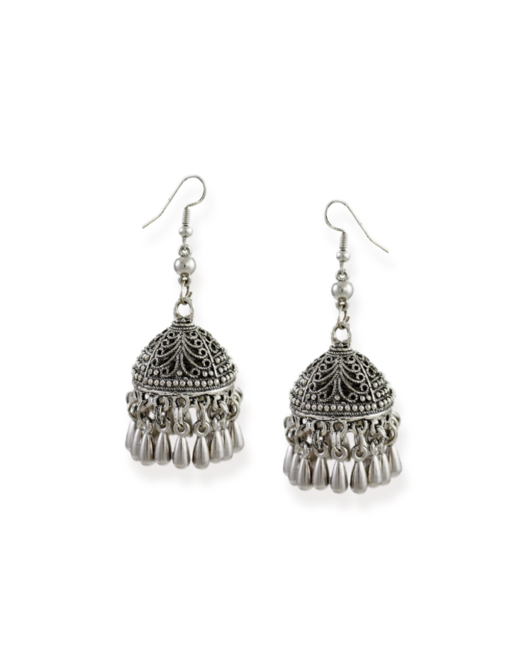 Zaveri Pearls Silver Tone Dome Shaped Jhumki Earring