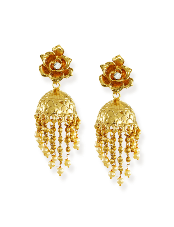 Zaveri Pearls Gold-Toned Unique Design Dangler Drops Jhumki Earring