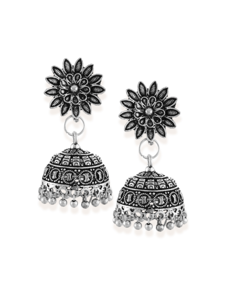 Zaveri Pearls Antique Silver-Toned Jhumki Earring