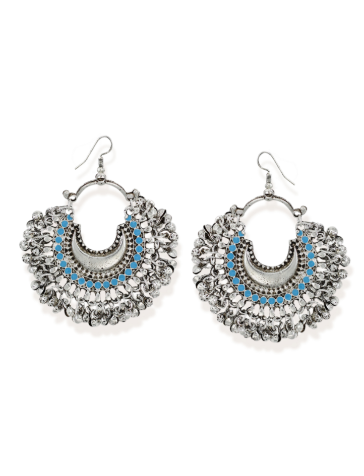 Zaveri Pearls Silver-Toned Crescent Shaped Chandbali Earring