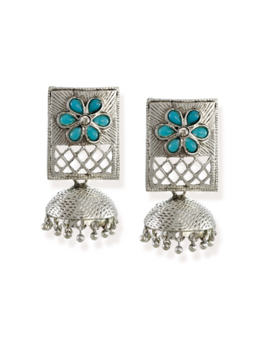 Zaveri Pearls Rectangular Shaped Dangle With Jhumki Drop Earring