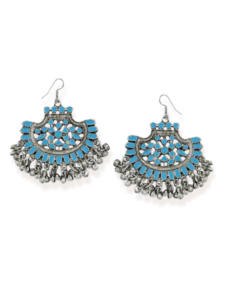 Zaveri Pearls Silver-Toned Antique Dangle Earring